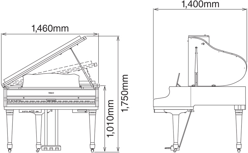 for Baby grand piano height